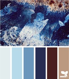 Crystallized Blues: Sky Blue, Ice Blue, Pool Blue, Navy, Dark Brown and Mocha Tan