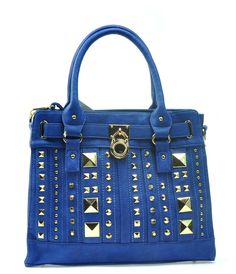 Tote   Shoulder Bag- Luv the Brass Gold Studs 9a1f44daa307c