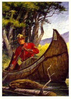 A hearty dose of vintage Canadian charm (beaver very much included, naturally), and an RCMP (Royal Canadian Mounted Police) officer. All About Canada, Canadian History, Canadian Culture, Canada Eh, Canoe And Kayak, Canoe Trip, Pub, Le Far West, Vintage Travel Posters