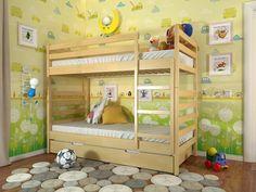 Рио сосна 90х200 - двухъярусная кровать из дерева для подростков и детей. Twin loft wood bed for kids