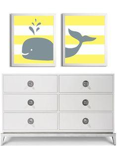 Nursery Whale Kids Room Art Nautical Beach Ocean Sea Prep Stripes Yellow Grey more colors available set of 2 each 11x14