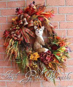 Large Rustic Fox Autumn Fall Wreath Sisal 12 by IrishGirlsWreaths