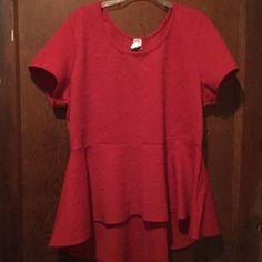 Red Hi Low Shirt Nice Tops