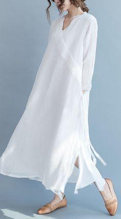 2017 flowy fine white linen maxi dresses summer caual silk dress traveling gown