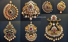 Designer Pachi Pendents in Peacock design with open screw at the back. These gorgeous pendents in antique 22 karat gold Antic Jewellery, Indian Jewellery Design, Jewelry Design, Latest Jewellery, Bridal Jewellery, Gold Jhumka Earrings, Gold Earrings Designs, Pendant Jewelry, Gold Jewelry