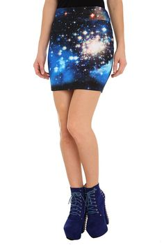 GALAXY CONTOUR MINI SKIRT $14.50 ..we got these for $8 at our local Hot Topic, and NO WAY would I let my 12 year old wear this without leggings