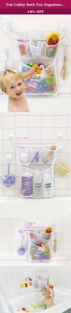 Tub Cubby Bath Toy Organizer with Multiple Pockets + Bonus of 4 Heavy Duty Lock Suction Cups and Durable Mold Resistant Mesh Washable + Guarantee. Organizing the Tub Cubby Way - Look Mom I can Clean Up All By Myself! Never have to ask your child to clean up their bath toys with this fun organizer. They will want to do it all by themselves! This product is great for organizing all of your child's bath toys, but it also has many other uses and can be used everywhere including your closet…