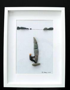 Items similar to Image of pebbles - Pebble art - surfer, 30 x 40 framed on Etsy Pebble Stone, Pebble Art, Stone Art, Sea Art, Sea Glass Art, Stone Crafts, Rock Crafts, Pebble Pictures, Art Pictures