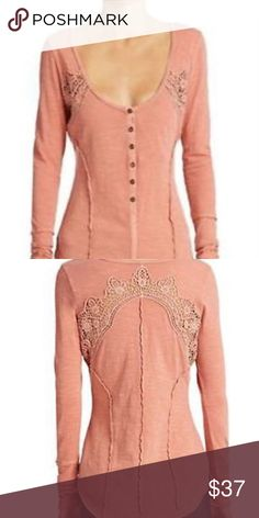 NWT! Free People Henley! Lightweight slub cotton shapes a long-sleeve henley top detailed with allover reverse seams and embroidered lace insets at the yoke. Oversized cuffs and a vented high/low hemline enhance the casual spirit of this boho-chic essential. NWT! Free People Tops