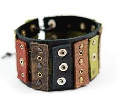"The super fun Remnants Cuff featuring TierraCast 1/2""x10"" Leather strap, 4mm Rivets and our new Eyelets and Micro Washers. Design by Julie Young for TierraCast."