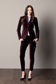 Velvet burgundy woman's suit and  shirt with stripes