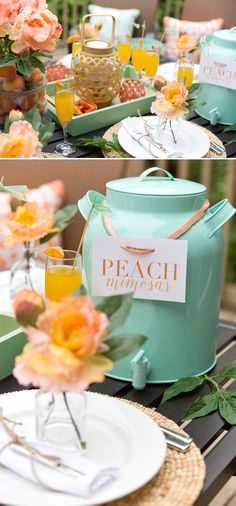 Pick a color theme for your next brunch party like @pizzazzerie does! She takes advantage of the cane pattern by serving in style with a cute metal beverage dispenser, and of course champagne glasses for the peachiest of mimosas. http://pizzazzerie.com/parties/peach-mint-spring-brunch-party/