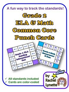 Common Core Punch Cards for Grade 2: All Standards Included! Great way to track the standards. $