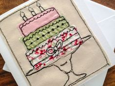 Free motion machine embroidery / appliqué on canvas. Freehand Machine Embroidery, Sewing Machine Embroidery, Free Motion Embroidery, Fabric Cards, Fabric Postcards, Embroidery Cards, Embroidery Patterns, Watercolor Quilt, Fabric Envelope