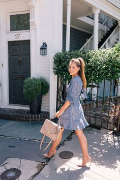 Gal Meets Glam Lace Mini Dress & My Favorite Bag For Fall - Wayf dress, Gianvito Rossi pumps & Cuyana bag
