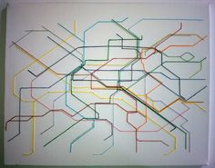subway map art - Canvas, subway or bus map, needle, embroidery floss.