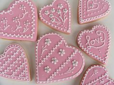 Pink Hearts (via Dolled Up Cookies and Cupcakes)