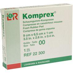 KOMPREX Schaumgummi Kompr.Grösse 00 oval:   Packungsinhalt: 1 St Kompressen PZN: 00591018 Hersteller: Lohmann & Rauscher GmbH & Co.KG…