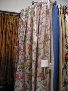 Floral Print Half Panama Door Curtain With Tape Top Header In Blue Or Terracotta