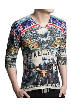 American Eagle Print Slim Fit Long Sleeve T-Shirt