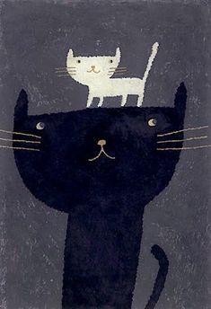 Illustration Print // Cats Black & White // the art room plant: Mizobuchji Miho Art And Illustration, I Love Cats, Crazy Cats, Gatos Cats, Here Kitty Kitty, Cat Drawing, Cat Art, Cats And Kittens, Artsy