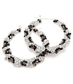 "$21.99 Leopard Silver & Blk Celebrity Inspired Evelyn Basketball Wives Bamboo Pincatch Handmade Rhinestone Hoop Earrings 2"" Drop by Jersey Bling: Jewelry: Amazon.com"