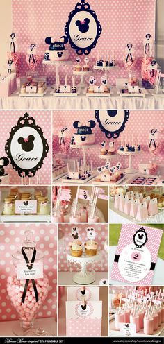 Pink and polka dot Minnie Mouse birthday party // Polkadots and Minnie Mouse Party Decor // My Minnie Birthday Minnie Mouse Theme, Minnie Mouse Baby Shower, Pink Minnie, First Birthday Parties, Birthday Party Themes, First Birthdays, Birthday Ideas, Party Deco, Festa Party