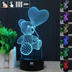 Cheap night, Buy Quality night light directly from China night light Suppliers: HUI YUAN Little Bear Night Light RGB Changeable Mood Lamp LED Light DC USB Decorative Table Lamp Get a free remote control Led Night Light, Light Led, Night Lights, Mood Lamps, Love Balloon, Novelty Lighting, Romantic Night, Cute Teddy Bears, Christmas Gifts For Kids