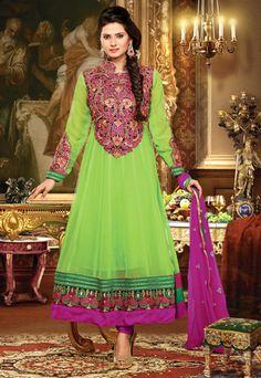 USD 74.96 Kritika Sengar  Green Karachi Work Long Anarkali Suit  39413