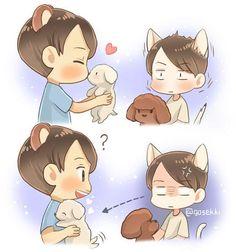 Kai Sehun - must obtain the puppy Chanyeol Baekhyun, Exo Kai, Sekai Exo, Exo Fan Art, Kaisoo, Chanbaek, Cute Chibi, Kpop Fanart, Cool Artwork