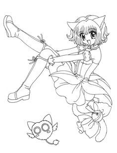 Manga Mew-mew coloring pages for kids, printable free
