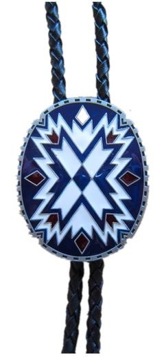 American Southwest Pattern Totem Oval Wedding Bolo Tie also Stock in US