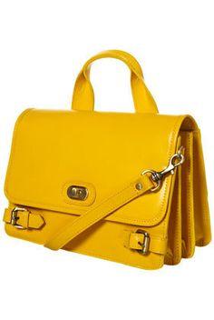 Mustard Twist Buckle Leather Lady Ba
