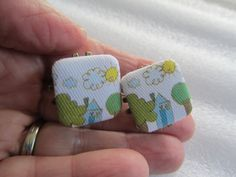 Button Earrings Post Earrings Mothers Day by BrownBeaverBeadery