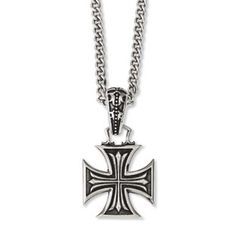 Men's Steel Antiqued Maltese Cross Pendant Necklace Men's Jewelry Available Exclusively at Gemologica.com