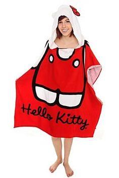 Hello Kitty Classic Hooded Beach Towel by Kaboodle Hello Kitty Bathroom, Hello Kitty Clothes, Right Meow, Sock Shoes, Hot Topic, Beach Towel, Hoods, Kawaii, Classic