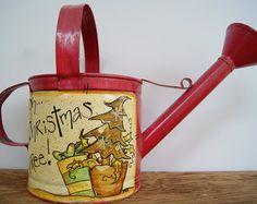 Vintage Tea Kettle Hand Painted Christmas Decor by Ramshackles