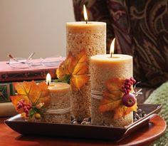 herbstliche Tischdeko Aromakerzen