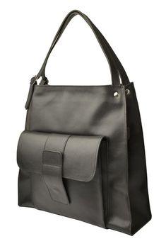 CARLA duża torba ze skóry natur., czarna, NOWOŚĆ - BAGS4JOY - Torebki damskie