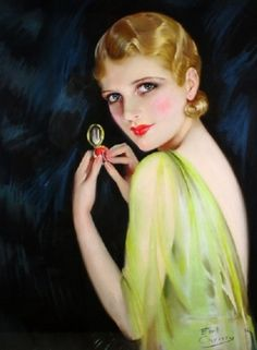 Art Deco Flapper Art Print 8 x 10 with Compact Mirror - Glamorous Pin Up - Make Up Art Vintage, Looks Vintage, Vintage Images, Vintage Posters, Vintage Kiss, Vintage Woman, Vintage Style, Pinup Art, Illustrations Vintage
