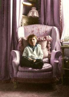 Tsarevich Alexei Nikolaevich Romanov (12 Aug 1904-17 Jul 1918) in the Mauve Room. 5th child & only son of Tsar Nicholas II Romanov (1868-17 Jul 1918) Russia & his wife Alix-Alexandra Feodorovna (1872-17 Jul 1918) Hesse, Germany. A♥W