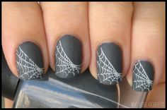 Spider-web nail for Halloween. Gotta find the correct link, though.