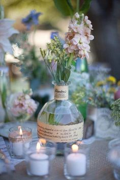 Beautiful decor. Poem from old book page like on glass vases!!! Boho themey