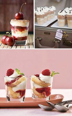 "Shot Glass Desserts - Yummy. Perfect party food. Recipe for ""Raspberry Tiramisu Bites"". Shot Glass Desserts, Shot Glass Appetizers, Dessert Shots, Dessert Bars, Mini Desserts, Delicious Desserts, Just Desserts, Tea Recipes, Dessert Recipes"