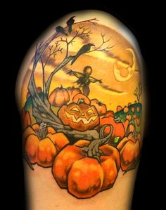 80 Awesome and Spooky Halloween Tattoos halloween tattoo Scarecrow Tattoo, Halloween Scarecrow, Spooky Halloween, Halloween Pumpkins, Halloween Ideas, Halloween Pictures, Halloween Season, Halloween Stuff, Vintage Halloween