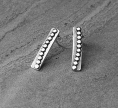 Sterling Silver Modern Bar Stud Earrings Dotted Pattern