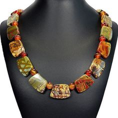 """atural Picasso Jasper 20"""" Necklace Handmade Gemstone Jewellery by Tantric"""
