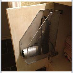 Hair dryer storage idea.