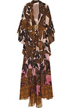 Matthew Williamson printed silk-chiffon kaftan kimono. ABSOLUTELY stunning.
