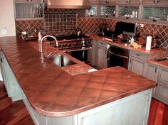 Quilted copper counter